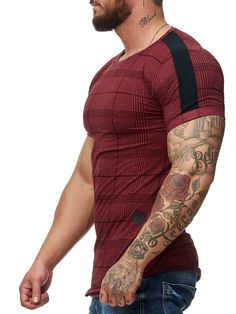 Karo Side Band Plaid T-Shirt - Burgundy Casual Shirts For Men, Men Casual, Men Shirts, Shirt Men, Smart Casual, Denim Shirt, Burgundy Outfit, Summer Outfits Men, Casual Outfits