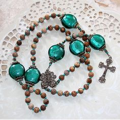 Brown Picture Jasper, Bronze and Teal Blue-Green Five Decade Catholic Rosary - French Vintage Style NEW: I now offer more affordable shipping fees at checkout. This is a large, unique and striking rosary. It measures 22 Diy Rosary Necklace, Rosary Beads, Teal Blue, Blue Green, Catholic Christening, French Vintage, Vintage Style, Vintage Inspired, Rosary Catholic