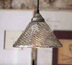 Suzie: Lighting - Eliza Fluted Antique Mercury Glass Pendant | Pottery Barn - eliza, fluted, mercury glass, pendant