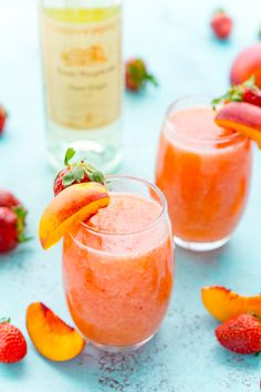 Strawberry Peach Wine Slushies are made with just a few ingredients and a blender. Mix them up for a night with the girls or a summer day by the pool!