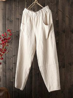 b8e6f84dbc6fd ZANZEA Retro Pure Color Pocket Baggy Wide Leg Trousers Cotton Nine Points  Pants is necessary for cold weather