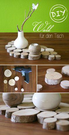Basteln, Baumscheiben, Deko, DIY, Holz, Tisch