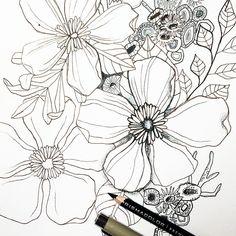 Drawing drawing drawing and drawing some more. Happy Tuesday  #sketchbook #makewells #floralsketch #doitfortheprocess