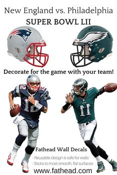 91ad3ceb5 Super Bowl LII - New England vs. Philadelphia Wall Decals. Decorate your  walls for the big Game! Go to www.fathead.com and order today!