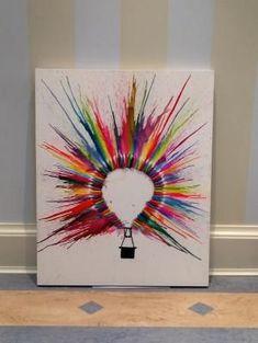 Hot Air Balloon Crayon Art by shauna Melting Crayon Art, Crayon Painting, Balloon Painting, Crayon Canvas Art, Melted Crayon Crafts, Hot Air Balloons, Crayola Art, Amazing Crafts, Amazing Art