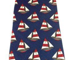 Tommy Hilfiger Mens Tie Silk Necktie Nautical Sailboats Yachts Boats Navy Red  #TommyHilfiger #NeckTie