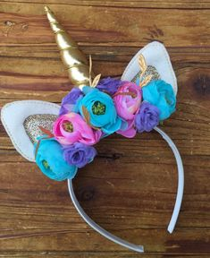 Unicorn Headband  - Unicorn Horn - Unicorn Costume - Unicorn Flower Headband by FunkyJunkyPeacock on Etsy
