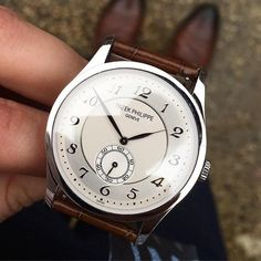Patek Philippe 5196 Calatrava; I love the two-tone dial and breguet numerals