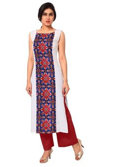 Shop now white printed crepe kurti and kurtas sleeveless straight long kurtis for women and get good deal, special offer, latest summer collection, sale. Long Kurta Designs, Simple Kurti Designs, Stylish Dress Designs, Kurti Neck Designs, Kurti Designs Party Wear, Stylish Dresses, Blouse Designs, Kurta Patterns, Dress Patterns