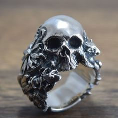 Skull Ringdelicate hand carving925 SolidSterling by ShamblesNagoya