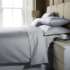 Hotel Living 1000 Thread Count Double Fitted Sheet, Ice Grey