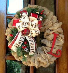 Holiday wreath Christmas wreath Burlap Wreath by WreathChick