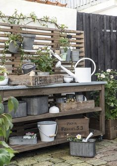 diy potting bench plans & ideas to beautify your garden. Potting Bench Plans, Potting Tables, Potting Sheds, Cottage Garden Plants, Garden Pots, Vegetable Garden, Plant Design, Garden Design, Outdoor Garden Bench