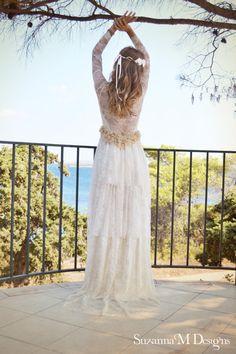 Ivory Lace Bohemian Wedding Dress