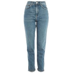 Women's Topshop Mom Jeans ($70) ❤ liked on Polyvore featuring jeans, pants, bottoms, mid denim, relaxed jeans, topshop jeans, high-waisted jeans, blue denim jeans and high rise jeans