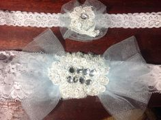 Handmade pale blue and white garter set made with beautiful French Alencon lace,hand beaded with sequins,beads and fiery Swaroski crystals! on Etsy, $50.00