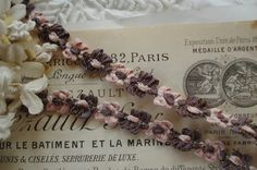 1y Vintage French Pink Mauve Metallic by VintageFrenchRibbons