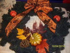 harvest wreath fall wreath halloween by NAESBARGAINBASEMENT