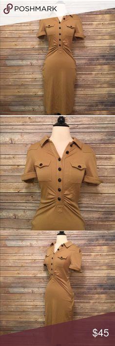 """Diane Von Furstenberg Tan Short Sleeve Dress Diane Von Furstenberg Tan Short Sleeve Dress in excellent condition.  Bust 30"""" Length 42"""" Diane Von Furstenberg Dresses"""