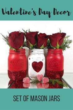 Love is in the air.......especially with this beautiful set of hand painted mason jars!These wonderful jars would make a fabulous addition to your home decor or to any celebration that you can imagine.Each jar has been hand painted and adored with red glitter and a heart. #affiliate #ValentinesDayDecor #ValentinesDay #HandpaintedMasonJars