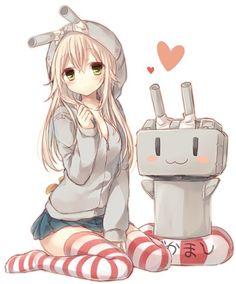 Image via We Heart It https://weheartit.com/entry/167985821/via/17883241 #anime #blonde #cute #girl #hearts #kawaii #pretty #robot #kantaicollection #kancolle