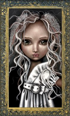 Art Print: Timide Lapin by Angelina Wrona : John Kenn, Lapin Art, Pop Surrealism, Gothic Art, Stretched Canvas Prints, Big Eyes, Cute Art, Fantasy Art, Anime Fantasy