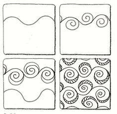 Croissant Zentangle doodles how Doodles Zentangles, Tangle Doodle, Tangle Art, Zentangle Drawings, Zen Doodle, Doodle Art, How To Zentangle, Zentangle For Beginners, Painting & Drawing
