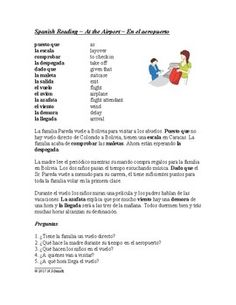 This 1-page reading written the present tense features a family from Colorado traveling back to Bolivia to visit extended family. It describes how this family spends time at the airport and on the flight.Students are introduced to a lot of travel related vocabulary through an extensive glossary.