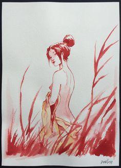 Jung - Red watercolour - Jeune femme à la baignade - (2009) - w.b.