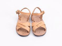 Handmade leather sandals tan cross strap kids