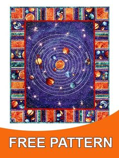 Quilt big pieces on pinterest quilt quilt patterns and for Solar system fabric panel
