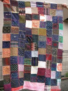 Plaid patchwork with sashiko allover
