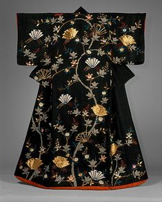 Woman's Over-Robe (uchikake) with Design of Mandarin Oranges and Folded Paper Ornaments. Date: 18th century. Culture: Japan. Medium: Tie-dyed satin damask with silk embroidery and gold couching.