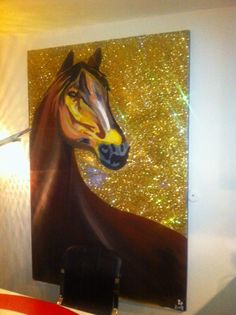 Horse on canvas acrylic and glitter.6 ft by 4 ft