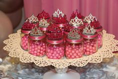 Princess baby shower party baby food jar favors! See more party planning ideas at CatchMyParty.com!