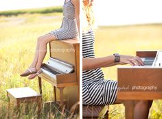 Senior pictures ideas for girls with a piano. These poses would look great with my prom dress!