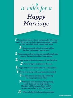 10 rules for a happy marriage. Simple and straight to the point.