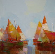 """Harbor, Original oil Painting, Seascape, Handmade artwork by palette knife, One of a kind,. Artist: Vahe Yeremyan Work: Original oil Painting, One of a Kind Medium: Oil on Canvas Year: 2016 Style: Impressionism Subject: Sail Boats, Size: 14"""" x14"""" x 3/4'' inch Gallery Estimated Value $1,100 Unframed, Stretched on wooden bar, Gallery Wrapped Yeremyan is an Armenian native who now makes his home in California. He is an honorable member of the Artist's Guild of Armenia and an active member of..."""