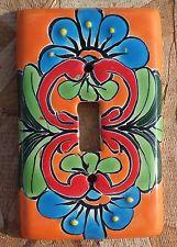 Talavera Mexican Pottery wall plate light switch single toggle cover aqua orange