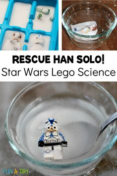 A baking soda and vinegar science experiment taken to the next level! Freeze LEGO Han Solo in Baking Soda Carbonite, then use vinegar to free him! Great for Star Wars-loving kids. Science Projects For Kids, Science Activities For Kids, Preschool Science, Science Experiments Kids, Hands On Activities, Preschool Activities, Science Week, Lego Projects, Science Ideas