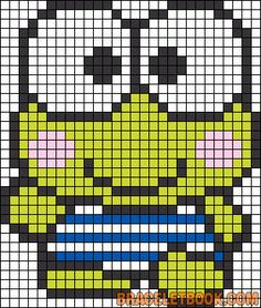 Free Cute Frog Hama Perler Bead Pattern and Vross Stitch Chart