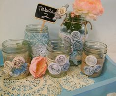 Upcycled Mason Jars Blue / Wedding by OShabbyChicAntiqueO on Etsy, $35.00