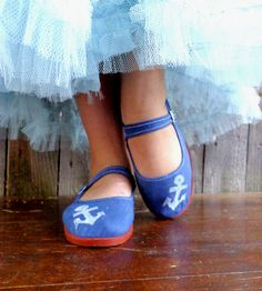 White Anchor Ballet Flats