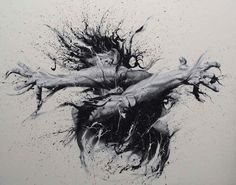 The highly energetic pieces were not created by charcoal or pastel, they were made by splattering and spreading paint on canvas using nothing but fingers. Yes, these are finger paintings. By artist Paolo Troilo.