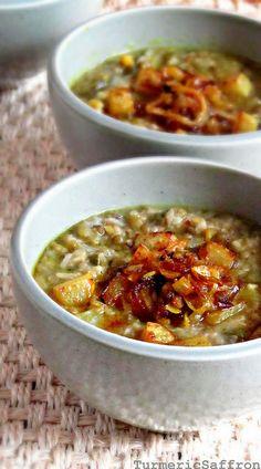 Sholeh Maah - Persian green mung bean and kohlrabi hearty soup - Turmeric & Saffron