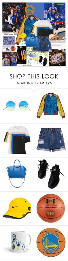 """3035"" by rainie-minnie ❤ liked on Polyvore featuring Illesteva, Gucci, P.E Nation, Givenchy, NIKE, Under Armour and FANMATS"