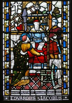 Joseph of Arimathea, St. John's College, Cambridge  Lower left section of the ninth window in St. John's College chapel, Cambridge. This depicts Joseph of Arimathea asking Pontius Pilate for Jesus' body.   https://farm3.staticflickr.com/2315/2181072262_9bf2f8371b_o.jpg