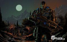 Download wallpapers Marcus Fenix, warrior, shooter, Gears of War