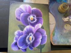 Purple pansy oil painting 7x9 inc. original picture bedroom image 0