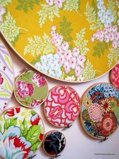 embroidery hoop scrap fabric wall art
